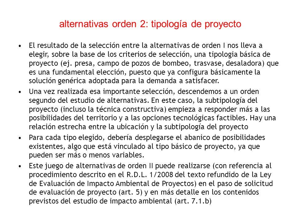 alternativas orden 2: tipología de proyecto