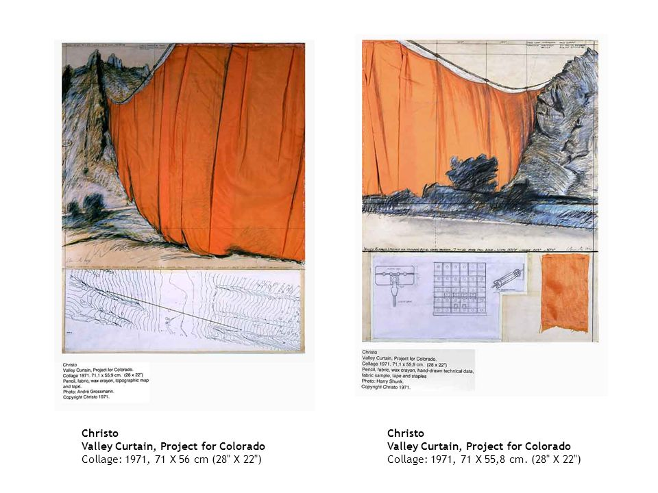 Christo Valley Curtain, Project for Colorado Collage: 1971, 71 X 56 cm (28 X 22 )