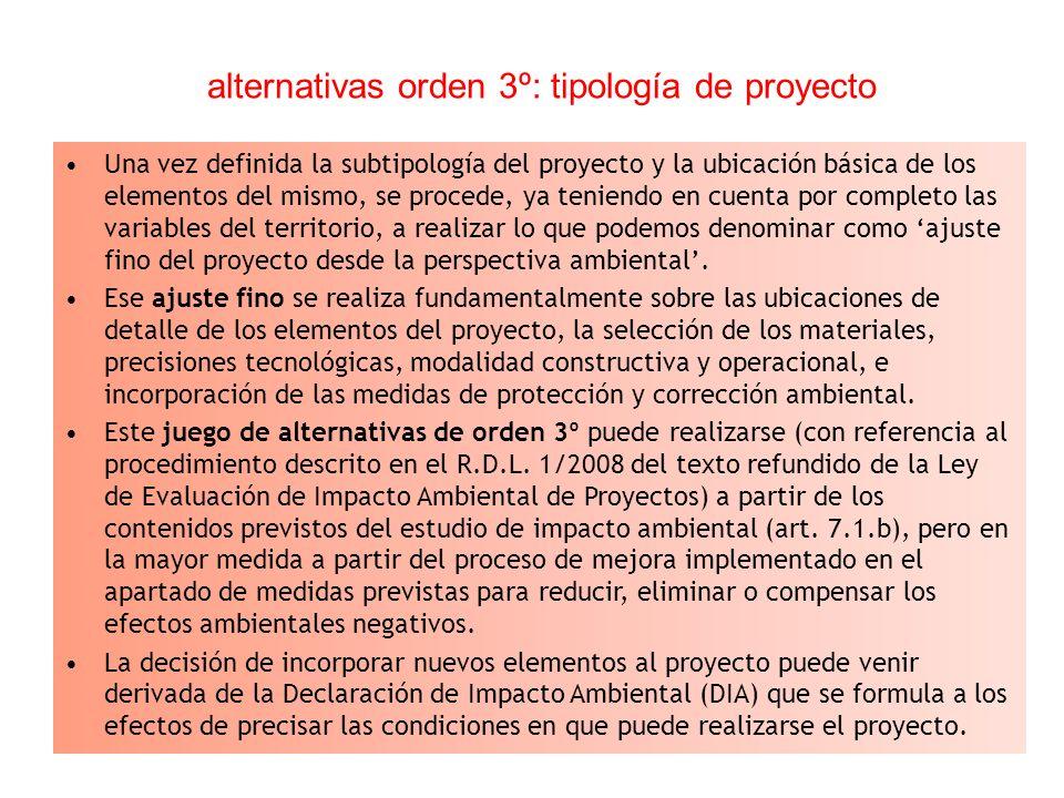 alternativas orden 3º: tipología de proyecto