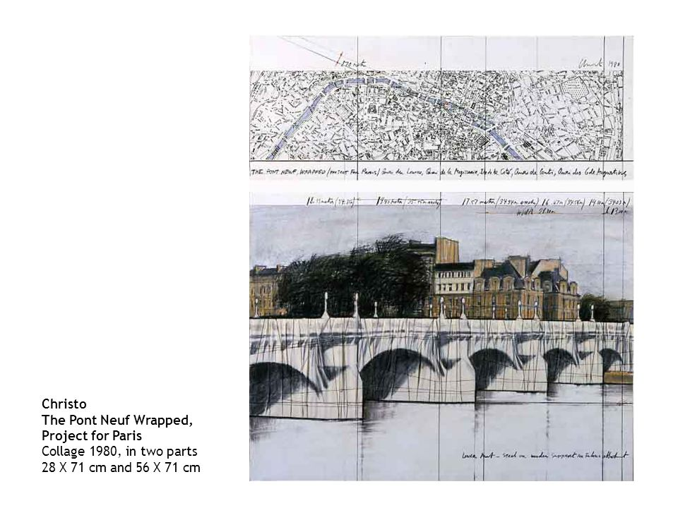 Christo The Pont Neuf Wrapped, Project for Paris Collage 1980, in two parts 28 X 71 cm and 56 X 71 cm