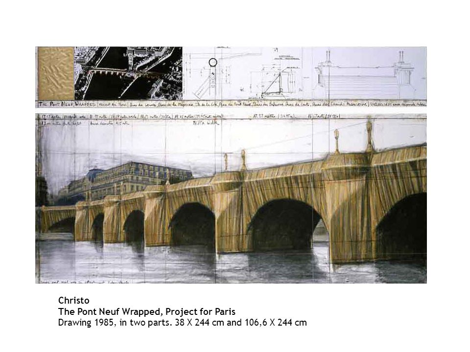 Christo The Pont Neuf Wrapped, Project for Paris Drawing 1985, in two parts.