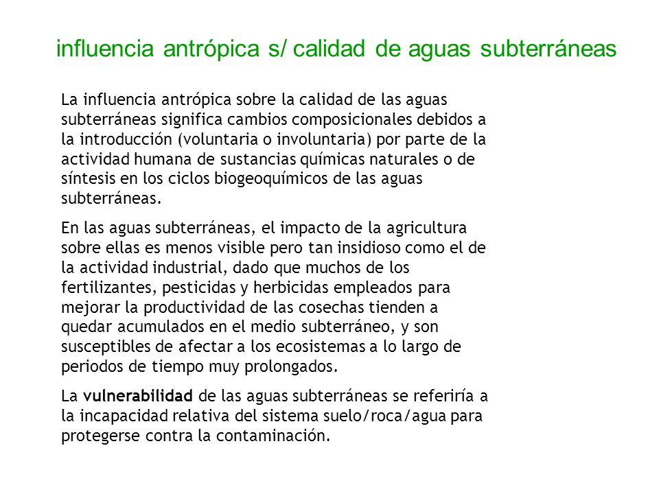 influencia antrópica s/ calidad de aguas subterráneas