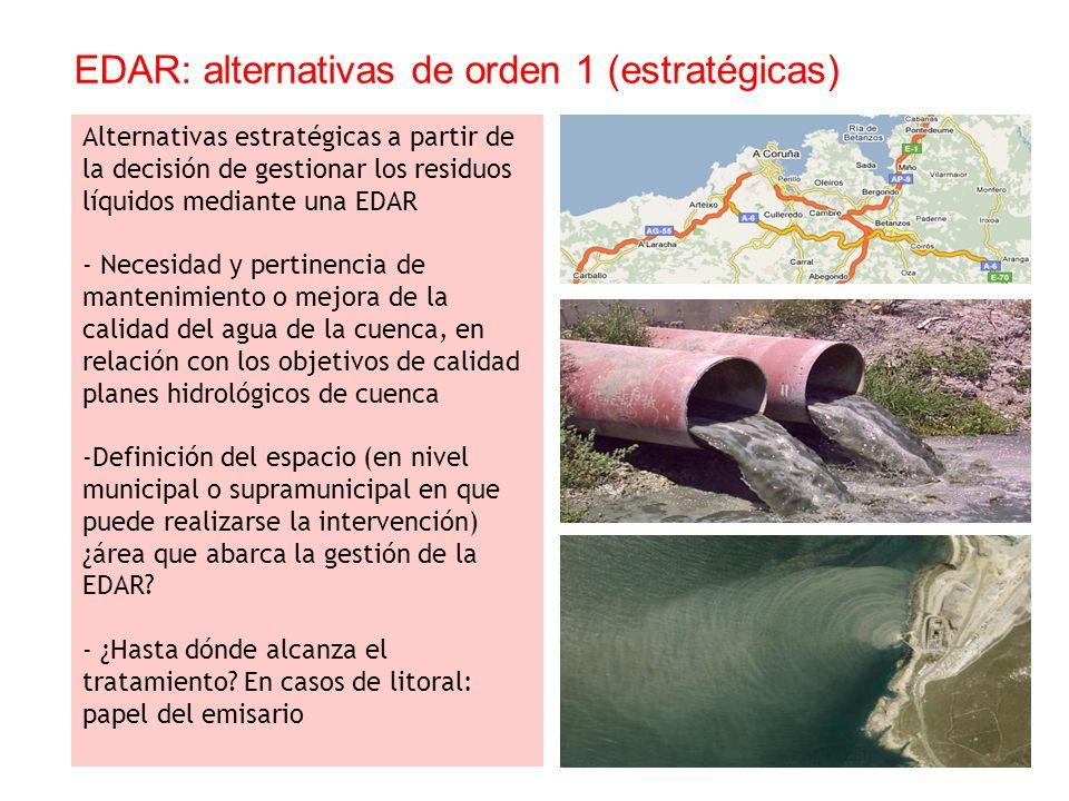 EDAR: alternativas de orden 1 (estratégicas)