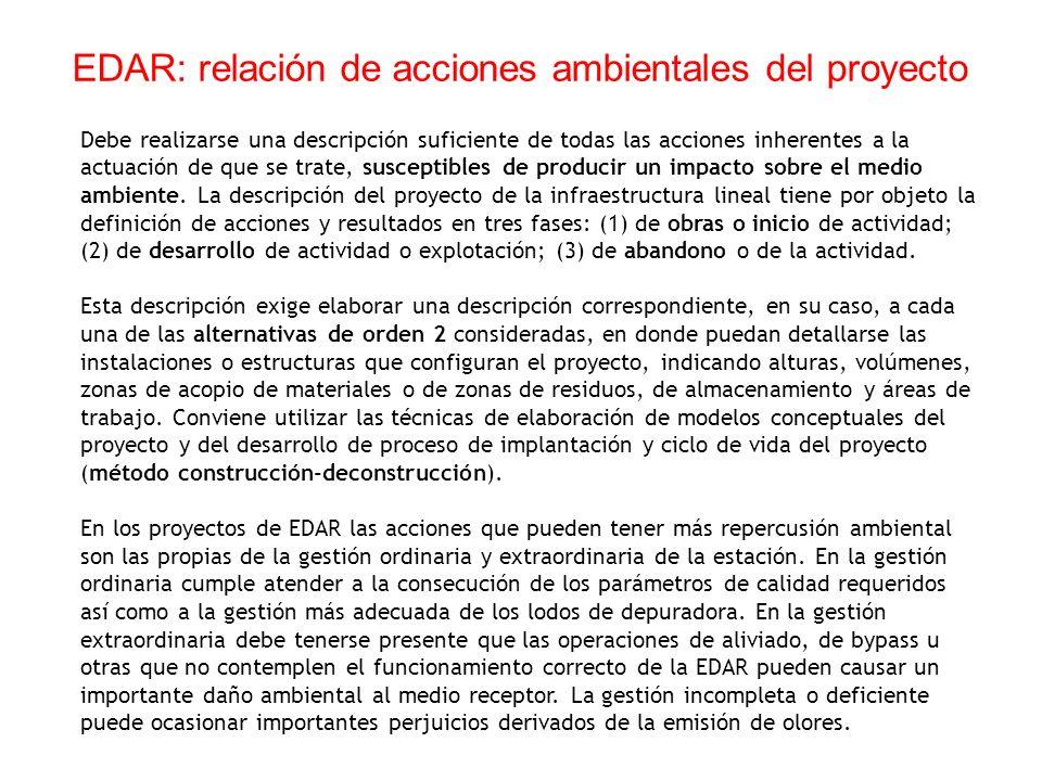 EDAR: relación de acciones ambientales del proyecto