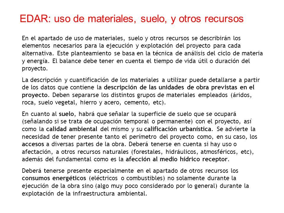 EDAR: uso de materiales, suelo, y otros recursos
