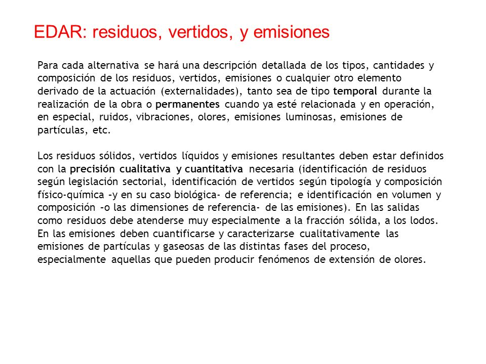 EDAR: residuos, vertidos, y emisiones