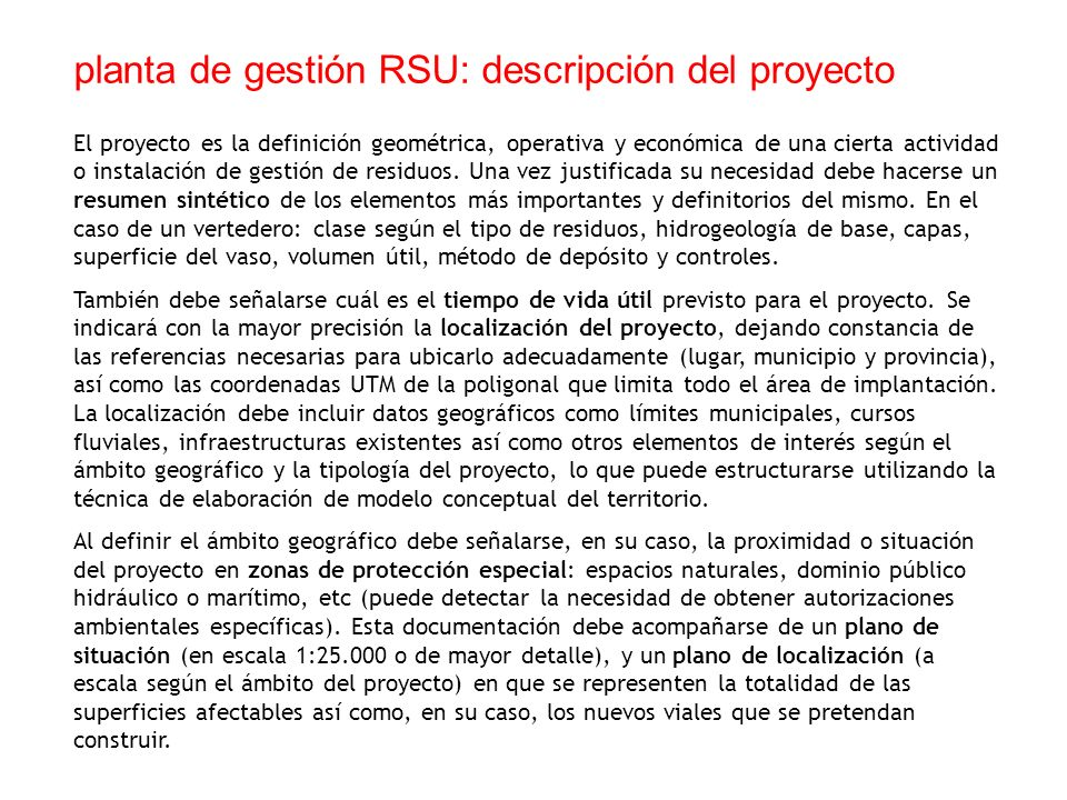 planta de gestión RSU: descripción del proyecto