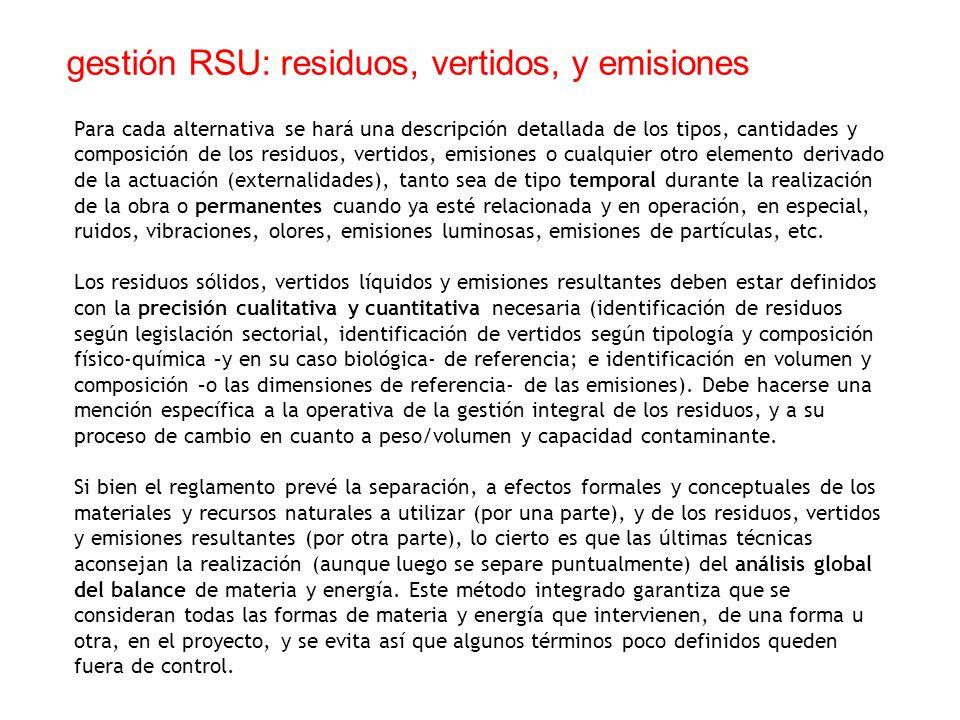 gestión RSU: residuos, vertidos, y emisiones