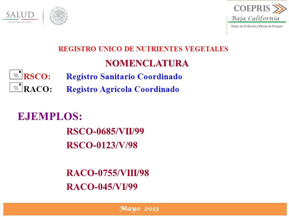 REGISTRO UNICO DE NUTRIENTES VEGETALES