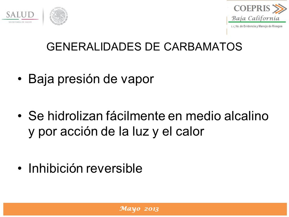 GENERALIDADES DE CARBAMATOS