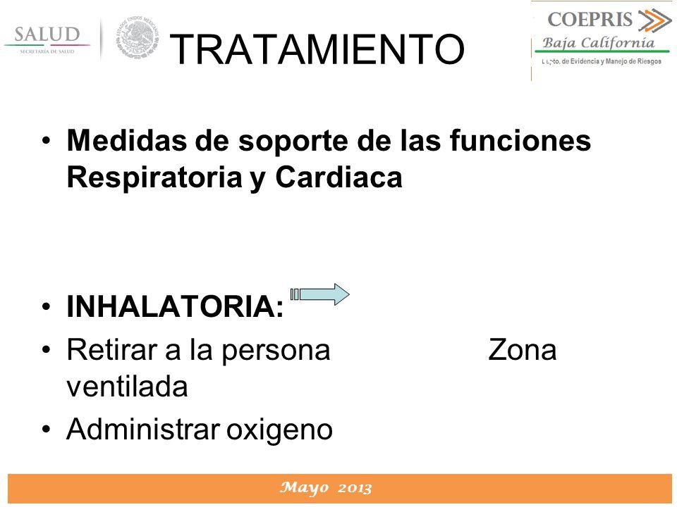 TRATAMIENTO Medidas de soporte de las funciones Respiratoria y Cardiaca. INHALATORIA: Retirar a la persona Zona ventilada.