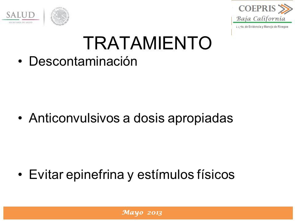TRATAMIENTO Descontaminación Anticonvulsivos a dosis apropiadas