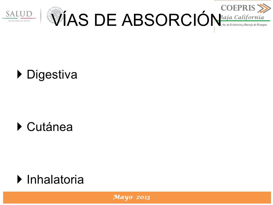 VÍAS DE ABSORCIÓN Digestiva Cutánea Inhalatoria