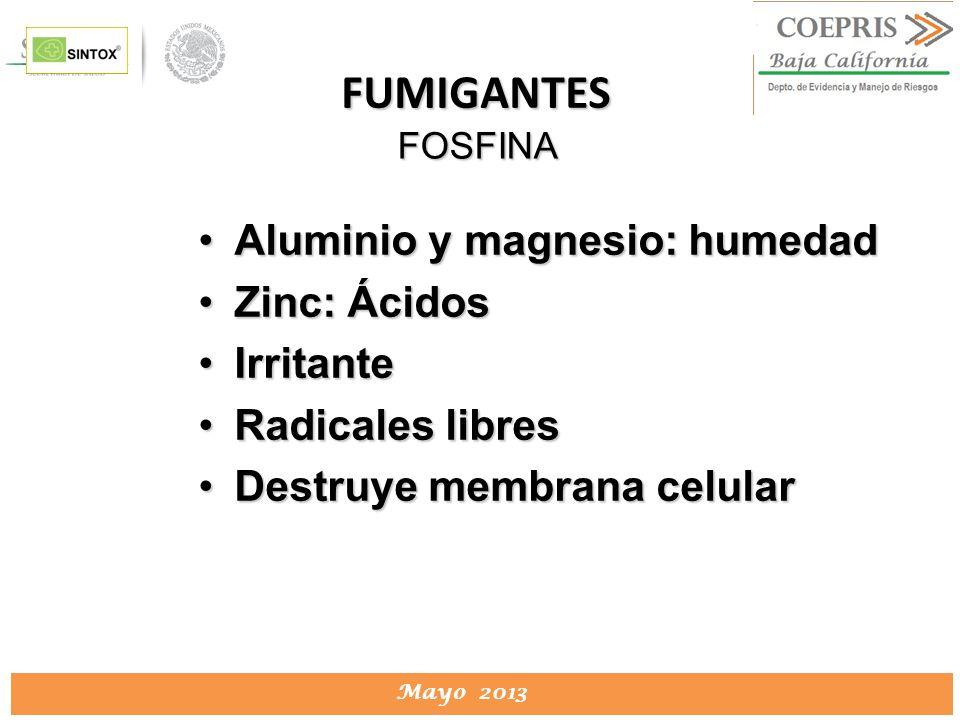 FUMIGANTES Aluminio y magnesio: humedad Zinc: Ácidos Irritante