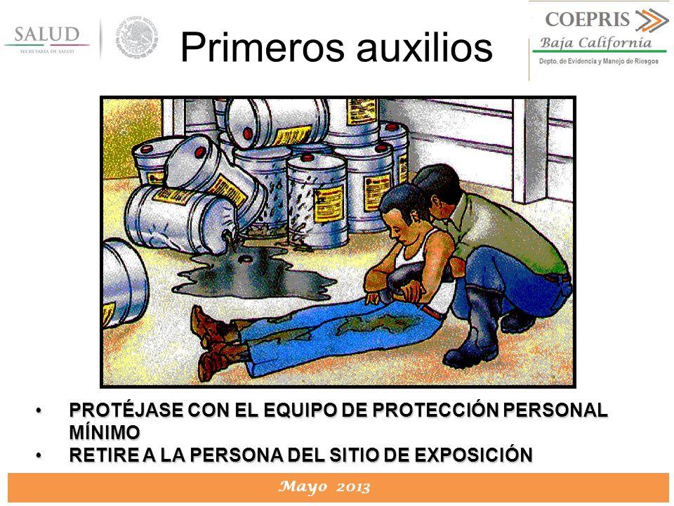 Primeros auxilios PROTÉJASE CON EL EQUIPO DE PROTECCIÓN PERSONAL MÍNIMO.