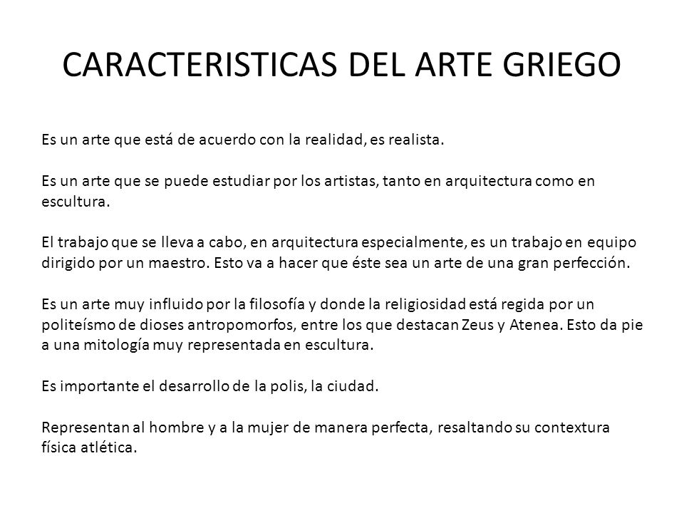 CARACTERISTICAS DEL ARTE GRIEGO
