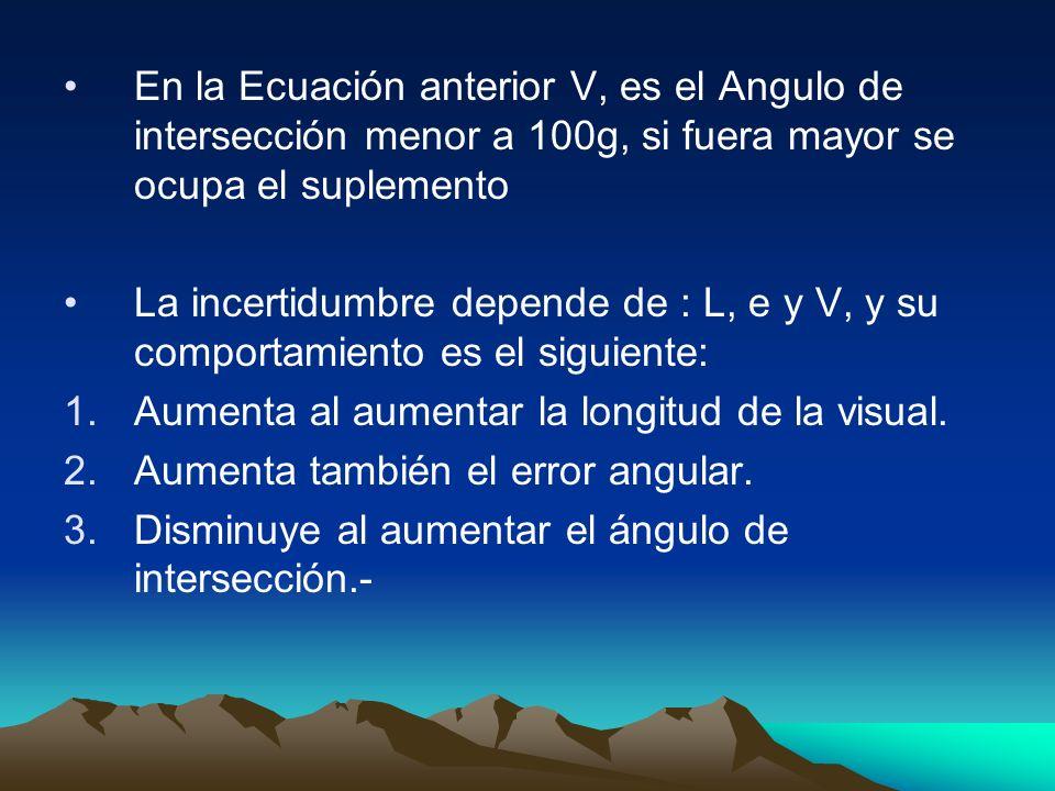En la Ecuación anterior V, es el Angulo de intersección menor a 100g, si fuera mayor se ocupa el suplemento