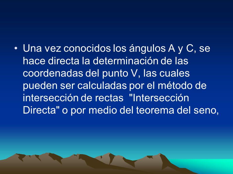 Una vez conocidos los ángulos A y C, se hace directa la determinación de las coordenadas del punto V, las cuales pueden ser calculadas por el método de intersección de rectas Intersección Directa o por medio del teorema del seno,
