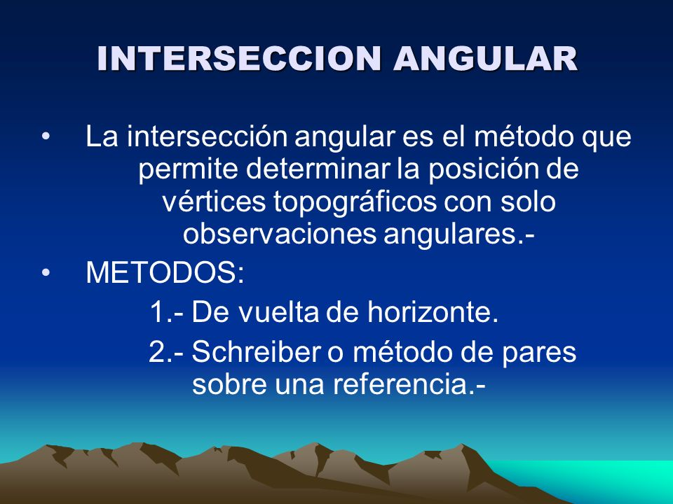 INTERSECCION ANGULAR