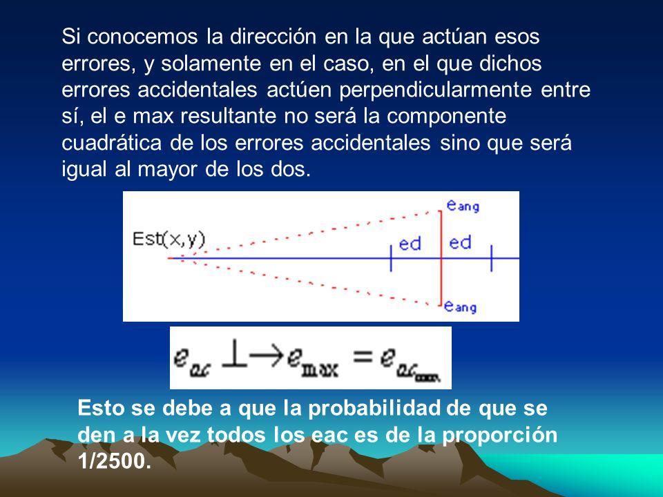 Si conocemos la dirección en la que actúan esos errores, y solamente en el caso, en el que dichos errores accidentales actúen perpendicularmente entre sí, el e max resultante no será la componente cuadrática de los errores accidentales sino que será igual al mayor de los dos.