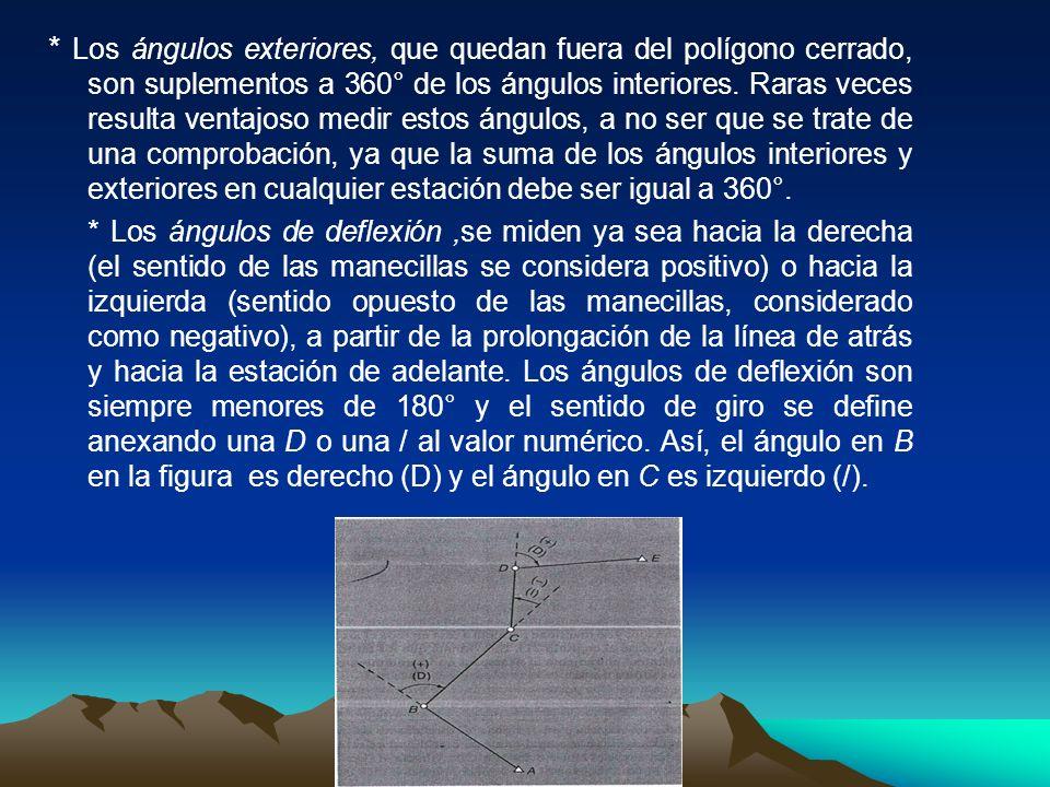 * Los ángulos exteriores, que quedan fuera del polígono cerrado, son suplementos a 360° de los ángulos interiores. Raras veces resulta ventajoso medir estos ángulos, a no ser que se trate de una comprobación, ya que la suma de los ángulos interiores y exteriores en cualquier estación debe ser igual a 360°.