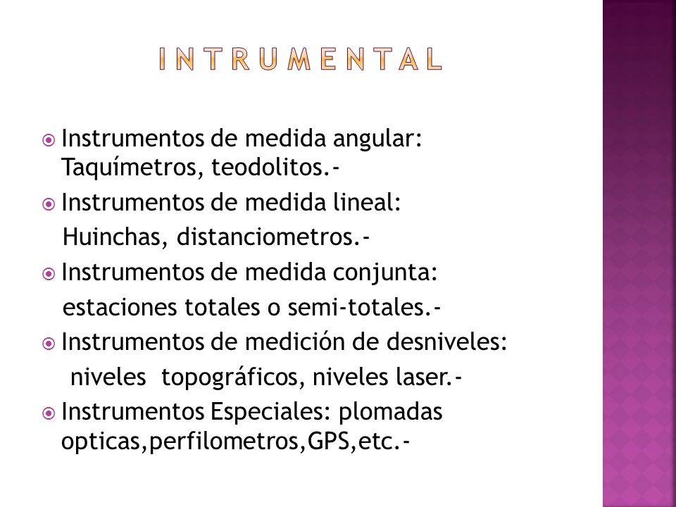 I n t r u m e n t a l Instrumentos de medida angular: Taquímetros, teodolitos.- Instrumentos de medida lineal:
