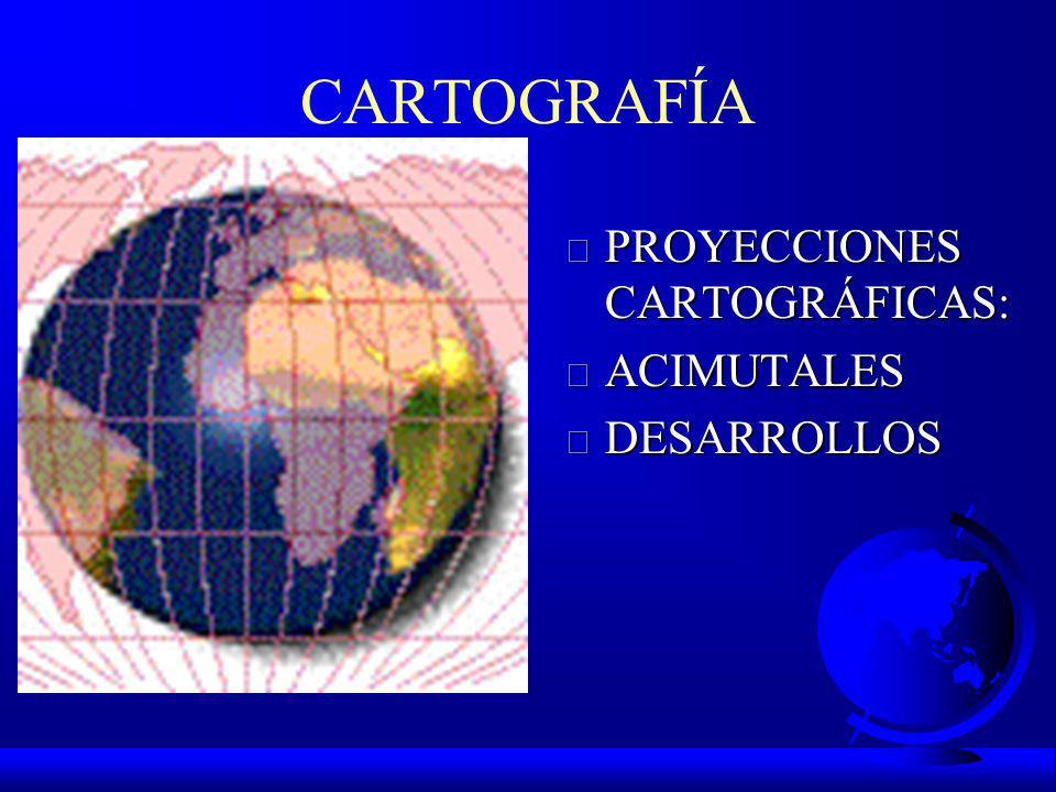 CARTOGRAFÍA PROYECCIONES CARTOGRÁFICAS: ACIMUTALES DESARROLLOS