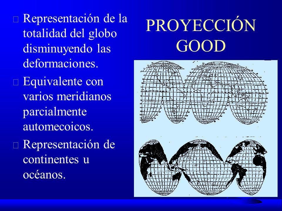 PROYECCIÓN GOODRepresentación de la totalidad del globo disminuyendo las deformaciones. Equivalente con varios meridianos parcialmente automecoicos.