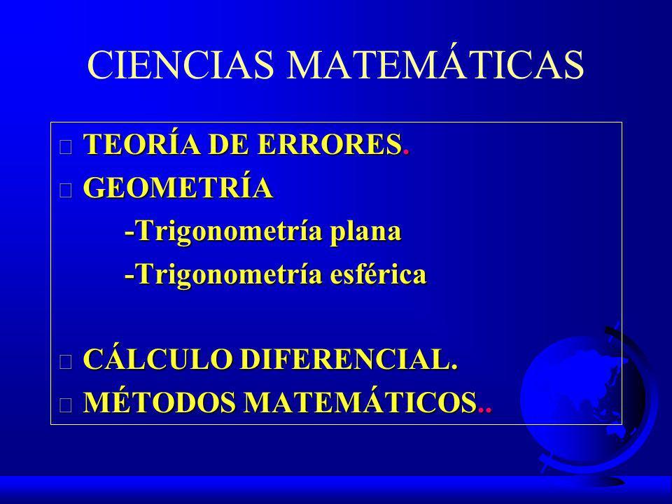 CIENCIAS MATEMÁTICAS TEORÍA DE ERRORES. GEOMETRÍA -Trigonometría plana