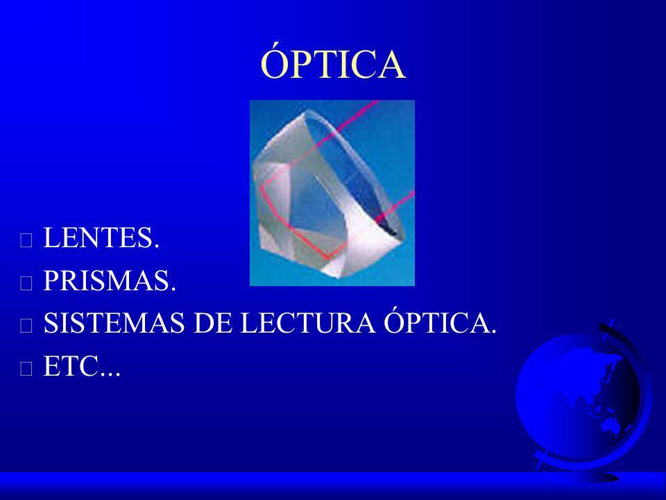 ÓPTICA LENTES. PRISMAS. SISTEMAS DE LECTURA ÓPTICA. ETC...