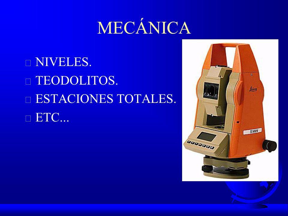 MECÁNICA NIVELES. TEODOLITOS. ESTACIONES TOTALES. ETC...