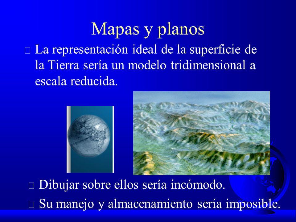 Mapas y planos La representación ideal de la superficie de la Tierra sería un modelo tridimensional a escala reducida.