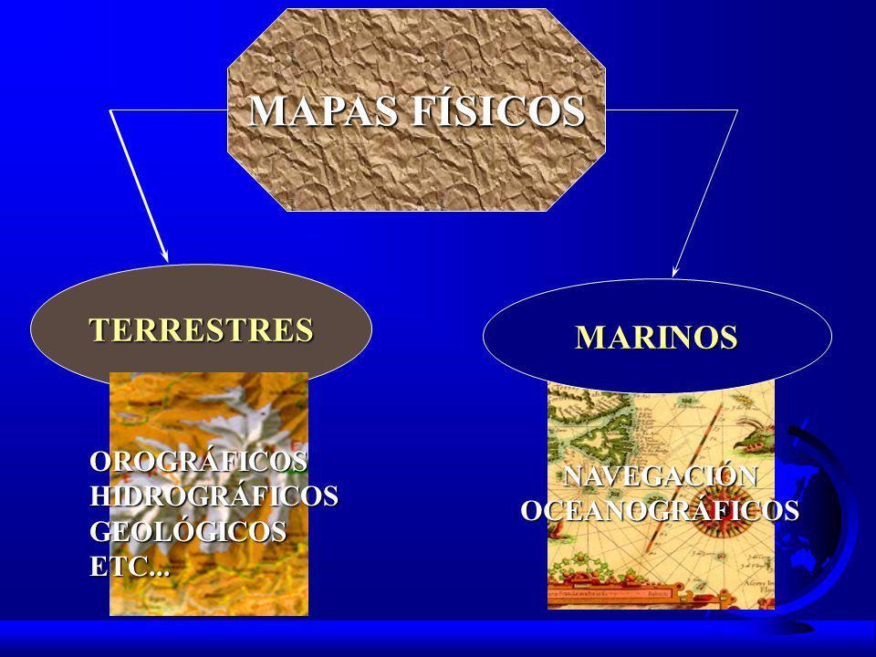 MAPAS FÍSICOS TERRESTRES MARINOS OROGRÁFICOS HIDROGRÁFICOS NAVEGACIÓN