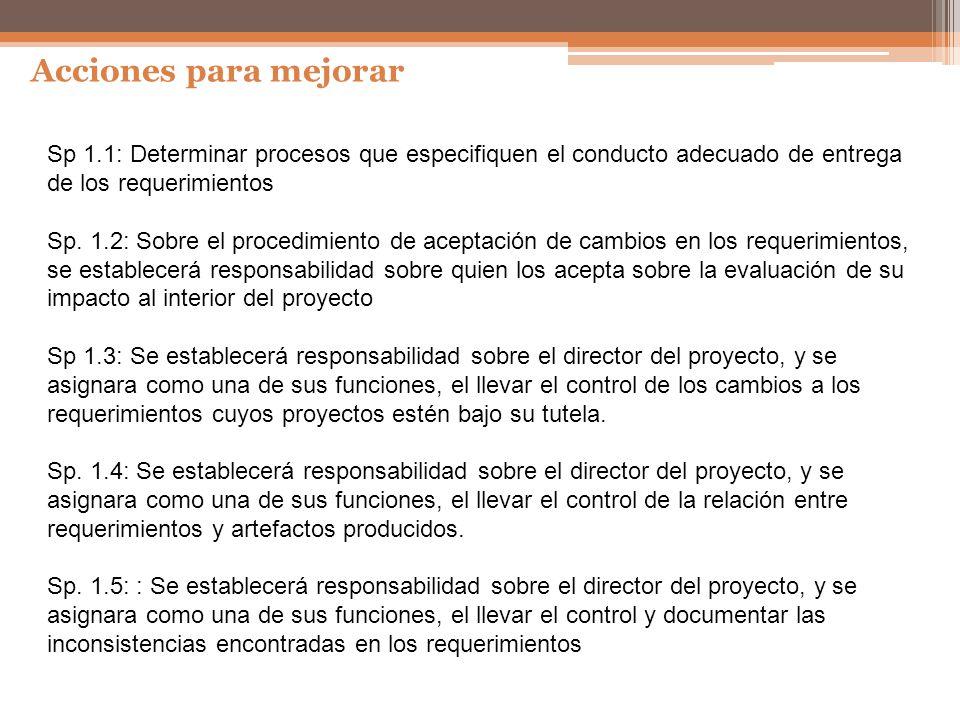 Acciones para mejorar Sp 1.1: Determinar procesos que especifiquen el conducto adecuado de entrega de los requerimientos.