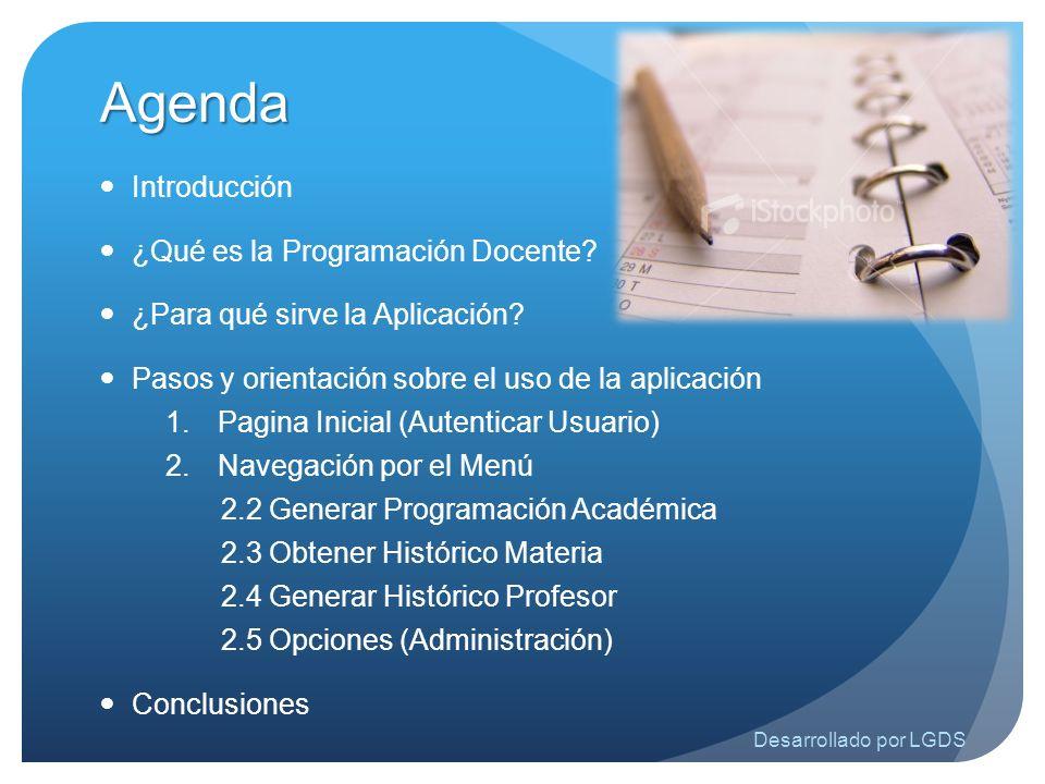 Agenda Introducción ¿Qué es la Programación Docente