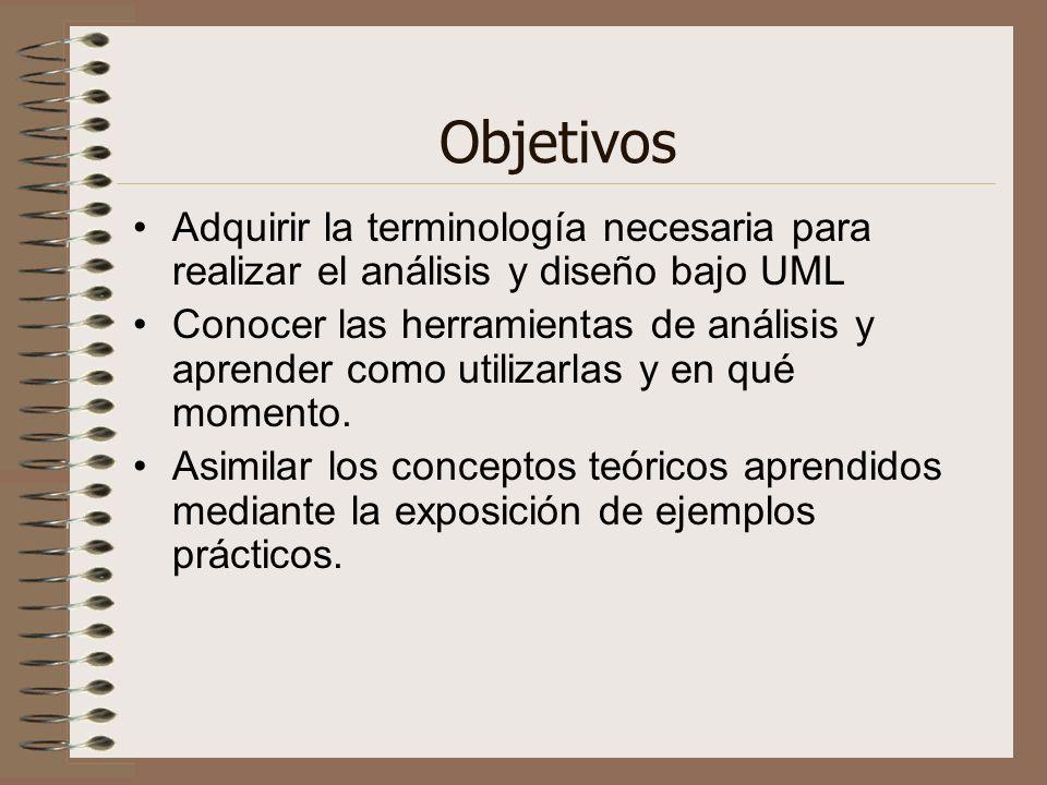 Objetivos Adquirir la terminología necesaria para realizar el análisis y diseño bajo UML.