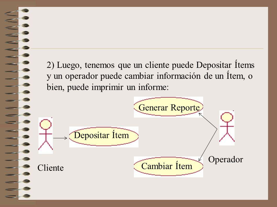 2) Luego, tenemos que un cliente puede Depositar Ítems y un operador puede cambiar información de un Ítem, o bien, puede imprimir un informe: