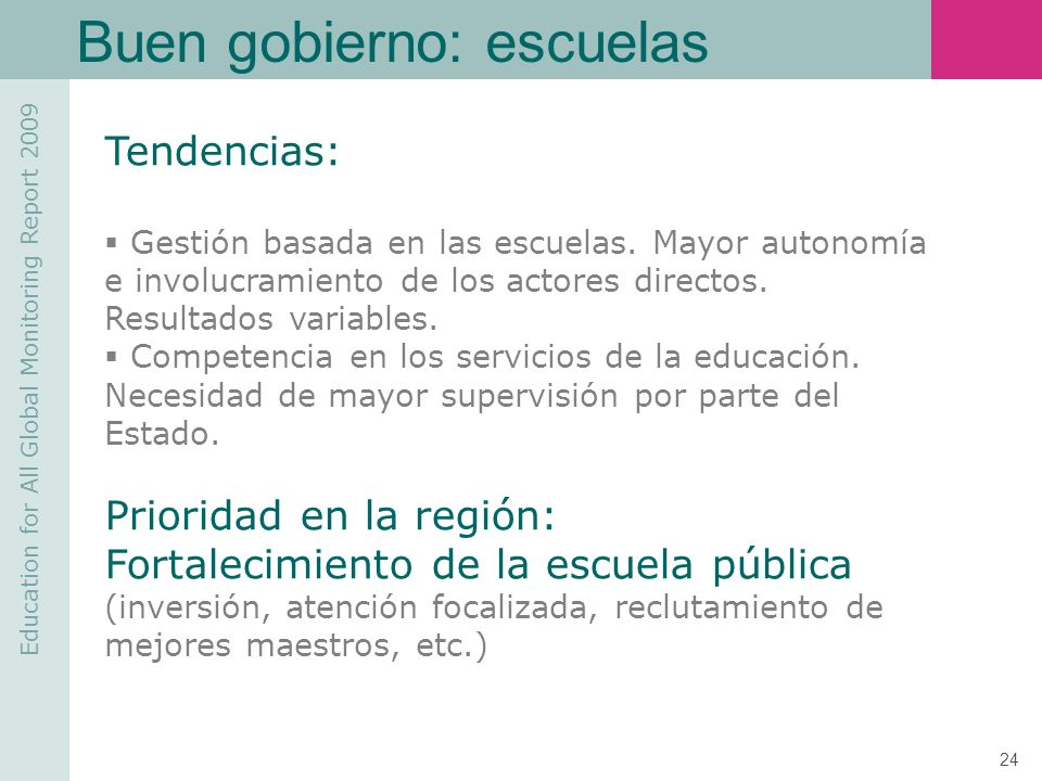 Buen gobierno: escuelas