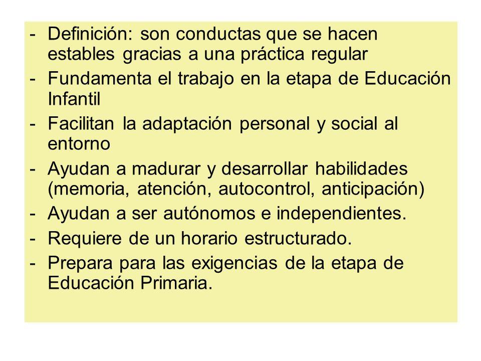 Definición: son conductas que se hacen estables gracias a una práctica regular