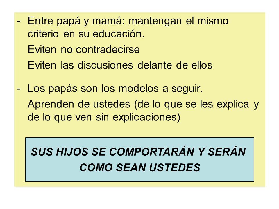 SUS HIJOS SE COMPORTARÁN Y SERÁN