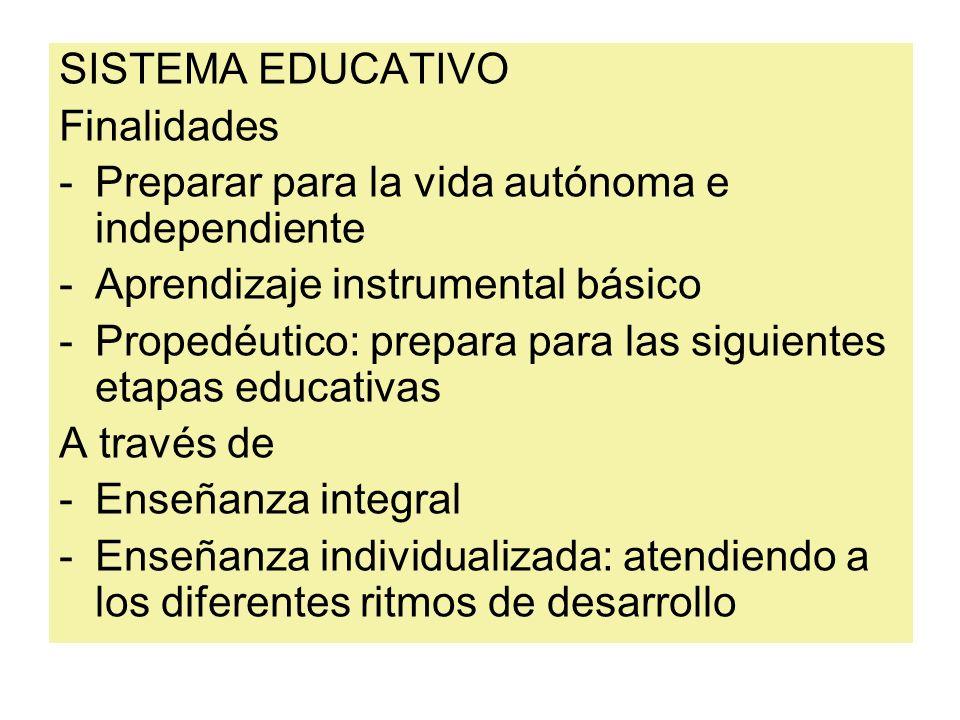 SISTEMA EDUCATIVO Finalidades. Preparar para la vida autónoma e independiente. Aprendizaje instrumental básico.