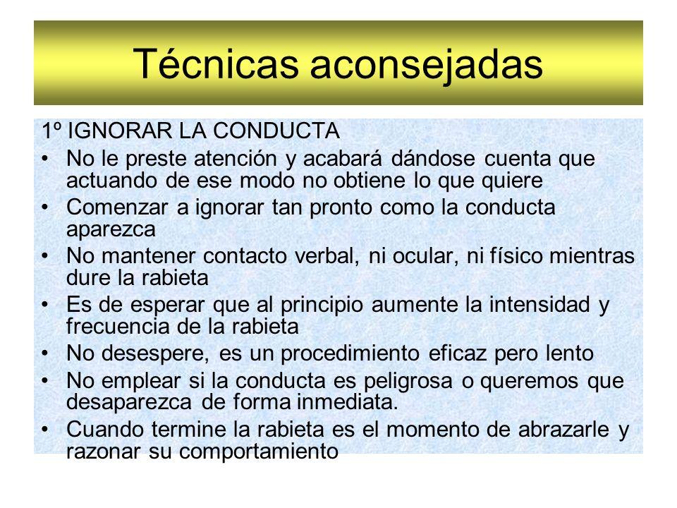 Técnicas aconsejadas 1º IGNORAR LA CONDUCTA
