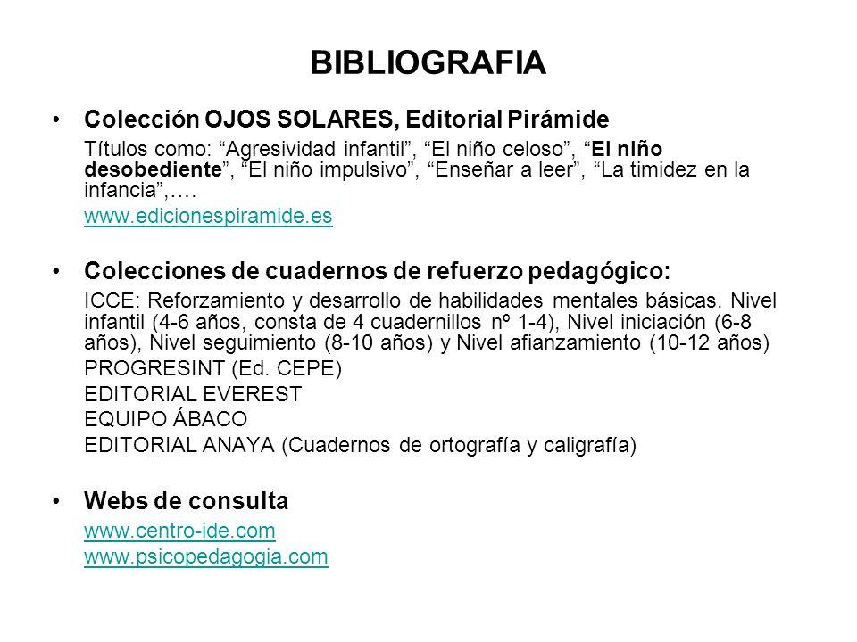 BIBLIOGRAFIA Colección OJOS SOLARES, Editorial Pirámide
