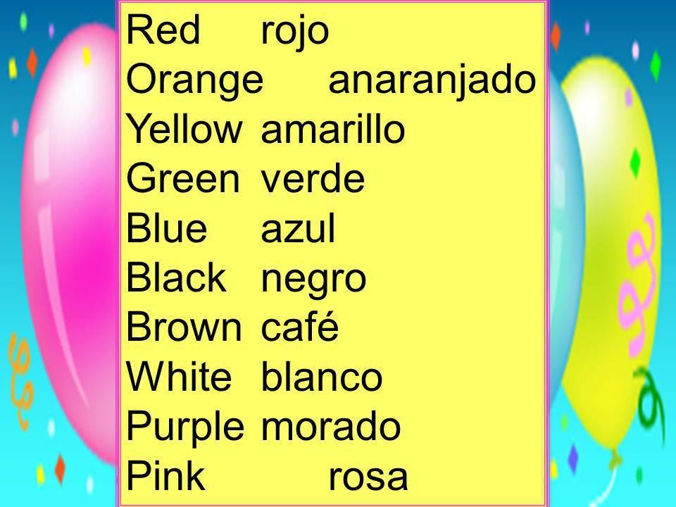 Red rojoOrange anaranjado. Yellow amarillo. Green verde. Blue azul. Black negro. Brown café. White blanco.