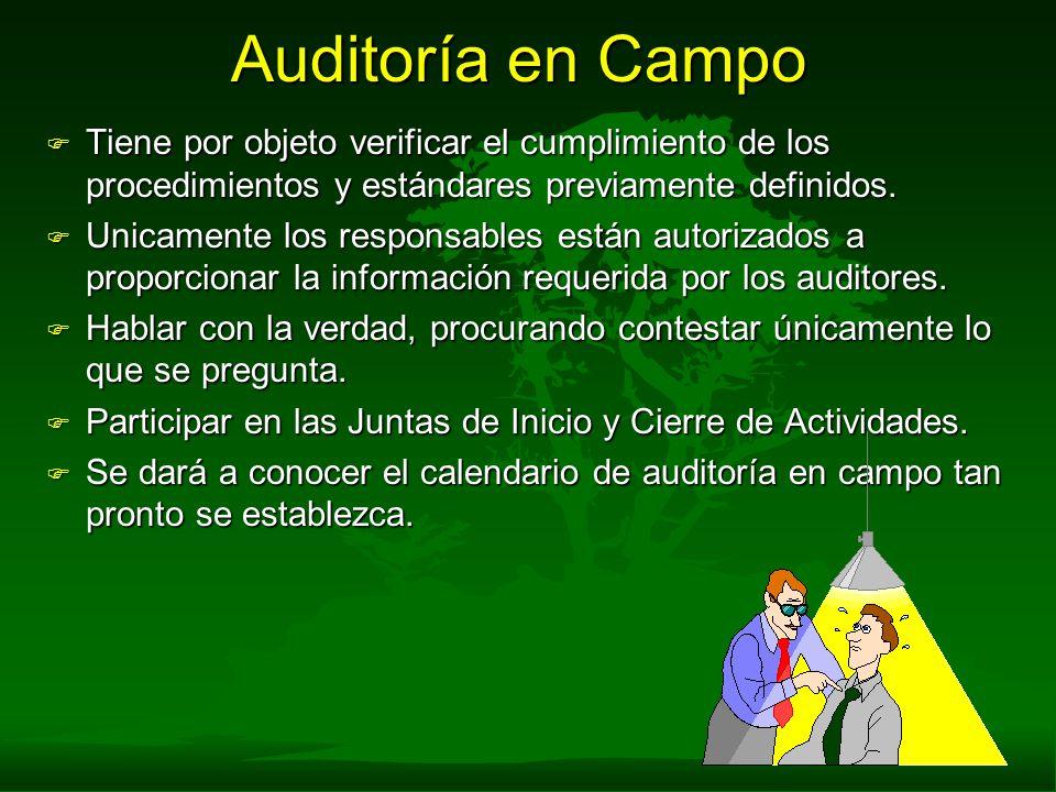 Auditoría en Campo Tiene por objeto verificar el cumplimiento de los procedimientos y estándares previamente definidos.