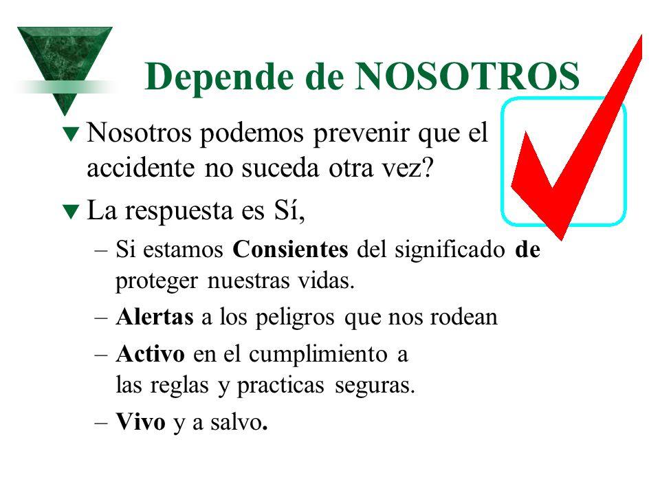 Depende de NOSOTROS Nosotros podemos prevenir que el accidente no suceda otra vez La respuesta es Sí,