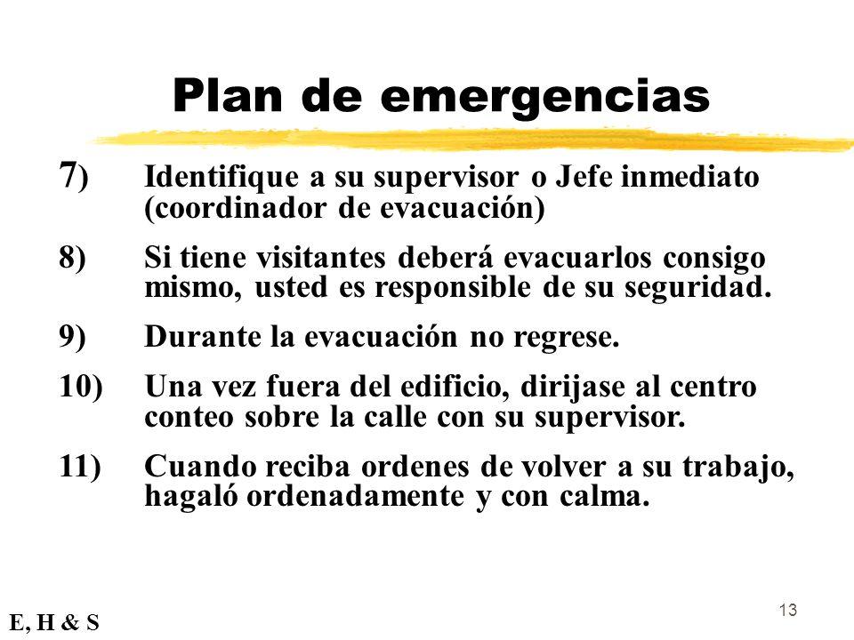Plan de emergencias 7) Identifique a su supervisor o Jefe inmediato (coordinador de evacuación)