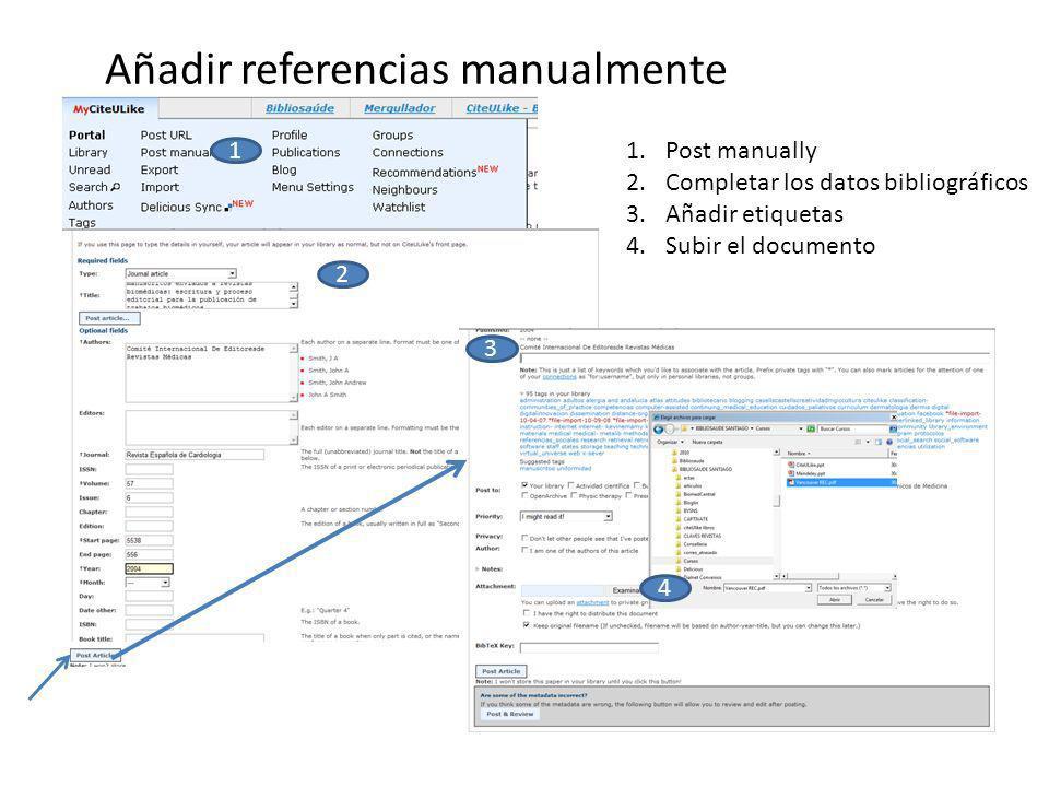 Añadir referencias manualmente