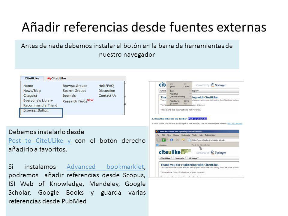 Añadir referencias desde fuentes externas