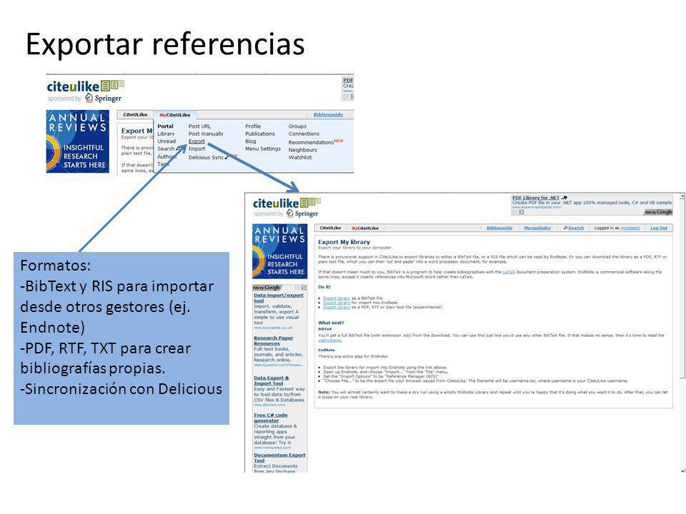 Exportar referencias Formatos: